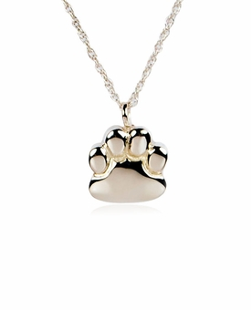 Paw Print Sterling Silver Pet Cremation Jewelry Pendant Necklace