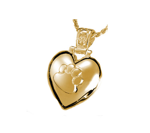 Solid 14k Yellow Gold Heart Paw Print Pendant Necklace