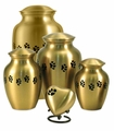 Paw Prints Classic Brass Pet Cremation Urn Series - Engravable