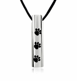 Paw Prints Cylinder Stainless Steel Pet Cremation Jewelry Pendant Necklace