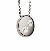 Paw Prints Pebble Black Rhodium Finish over Sterling Silver Cremation Necklace Pendant