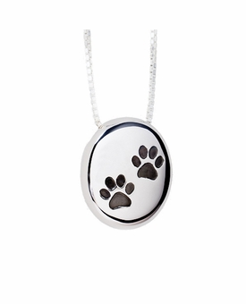 Paw Prints Pebble Polished Sterling Silver Cremation Necklace Pendant