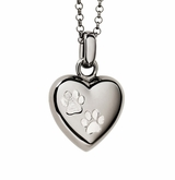 Paw Prints Puff Heart Black Rhodium Finish over Sterling Silver Cremation Necklace Pendant