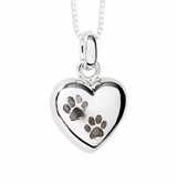 Paw Prints Puff Heart Polished Sterling Silver Cremation Necklace Pendant