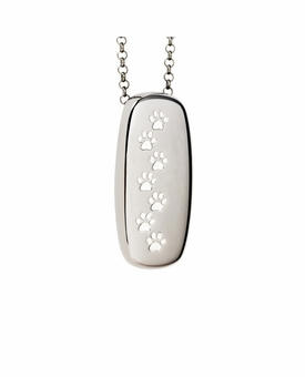 Paw Prints Rectangle Black Rhodium Finish over Sterling Silver Cremation Necklace Pendant