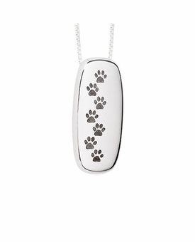 Paw Prints Rectangle Polished Sterling Silver Cremation Necklace Pendant