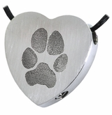 Pawprint and Name Heart Slider Stainless Steel Memorial Pet Cremation Jewelry Pendant Necklace