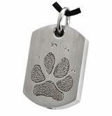 Pawprint Dog Tag Stainless Steel Memorial Pet Cremation Jewelry Pendant Necklace