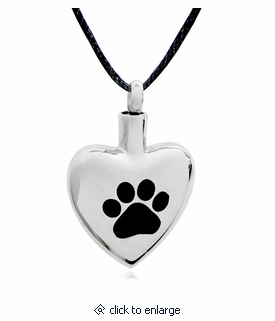 Pawprint Heart Stainless Steel Pet Cremation Jewelry Pendant Necklace