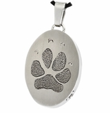 Pawprint Oval Stainless Steel Memorial Pet Cremation Jewelry Pendant Necklace