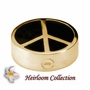 Peace Sign Cremation Jewelry in Solid 14k Yellow Gold or White Gold