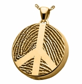 Peace Sign Fingerprint Round Solid 14k Gold Memorial Cremation Pendant Necklace