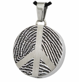 Peace Sign Fingerprint Round Stainless Steel Memorial Cremation Pendant Necklace