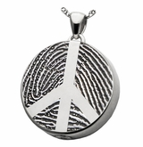 Peace Sign Fingerprint Round Sterling Silver Memorial Cremation Pendant Necklace