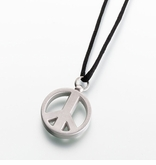 Peace Sign Pewter Keepsake Memorial Necklace Pendant