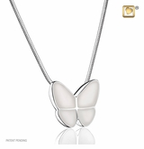 Pearl Enamel Wings of Hope Rhodium Plated Sterling Silver Cremation Jewelry Pendant Necklace