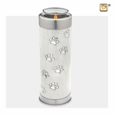 Pearl Paw Prints Tall Tealight Candle Pet Cremation Urn