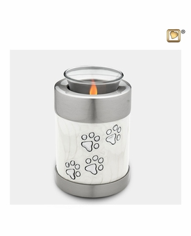 Pearl Paw Prints Tealight Candle Pet Cremation Urn