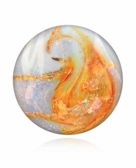 Pearly White Cremains Encased in Glass Cremation Healing Stone