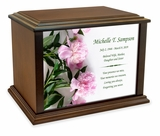 Peonies Eternal Reflections Wood Cremation Urn - 4 Sizes
