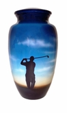 Perfect Swing Hand Painted Cremation Urn