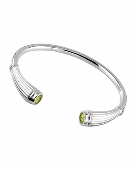 Peridot Birthstone Reed Cuff Polished Sterling Silver Cremation Jewelry Bracelet