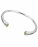 Peridot Birthstone Rounded Flute Polished Sterling Silver Cremation Jewelry Bracelet