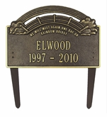 Personalized 2-Line Rainbow Bridge Cast Aluminum Pet Memorial Lawn and Garden Marker - 2 Colors
