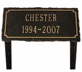 Personalized 2-Line Slate Cast Aluminum Pet Memorial Lawn and Garden Marker - 3 Colors
