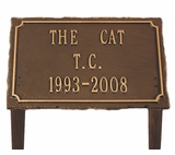 Personalized 3-Line Slate Cast Aluminum Pet Memorial Lawn and Garden Marker - 3 Colors