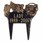 Personalized Angel Dog Pet Memorial Lawn and Garden Marker - 3 Colors