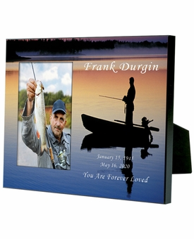 Personalized Fisherman in Boat Memorial Photo Frame for 4x6 photo