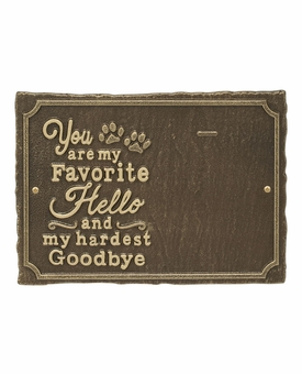 Personalized My Favorite Hello Pet Memorial Marker Wall Plaque - 9 Colors