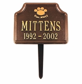 Personalized Our Kitty Cat Paw Pet Memorial Lawn and Garden Marker - 3 Colors