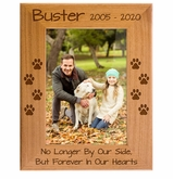 Personalized Pet Memorial Red Alder Picture Frame - No Longer by Our Side, But Forever in Our Hearts - Sympathy Dog or Cat Gift - 5 Sizes