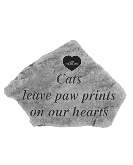 Personalized Pet Stone - Cats Leave Paw Print With Heart - Memorial Garden Stone