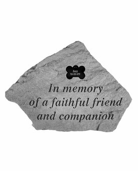 Personalized Pet Stone - In Memory Of With Bone - Memorial Garden Stone