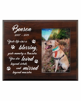 Personalized Pet Walnut Wood Picture Frame - Your Life Was a Blessing
