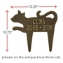 Personalized Silhouette Cat Pet Memorial Lawn and Garden Marker - 13 Colors