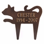 Personalized Silhouette Cat Pet Memorial Lawn and Garden Marker - 3 Colors