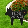 Personalized Silhouette Dog Pet Memorial Lawn and Garden Marker - 13 Colors