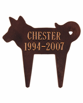 Personalized Silhouette Dog Pet Memorial Lawn and Garden Marker - 3 Colors