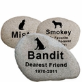 Pet Memorial River Rock -Stone Garden  Markers - Custom Engraved
