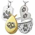 Pet Pawprint and Noseprint Cremation Jewelry That Holds Ashes