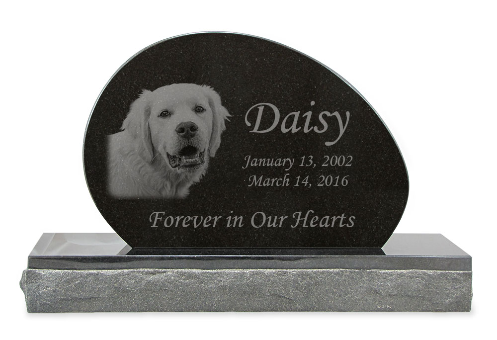 Pet Photo Upright Grave Marker Black Granite Laser Engraved Memorial Headstone Design 3
