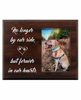 Pet Walnut Wood Picture Frame - No Longer By Our Side Heart
