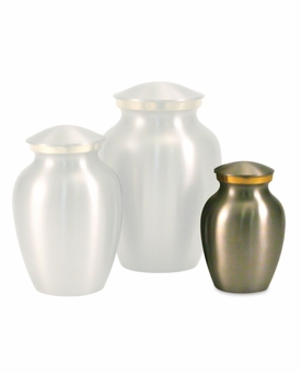 Petite Classic Pewter Brass Cremation Urn - Engravable