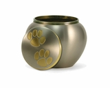 Petite Pewter / Brass Odyssey Paw Print Pet Cremation Urn