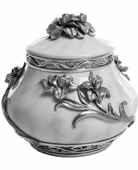 Pewter Flowers Cremation Urn