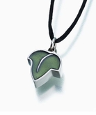 Pewter Green Leaf Cremation Jewelry